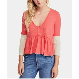 Free People Womens 3/4 Cotton Blouse Flounce-Hem